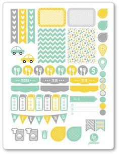 One 6 x 8 sheet of sunshine weekly spread planner stickers cut and ready for use…