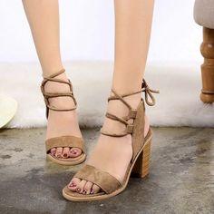 Cross Strap Peep Toe High-Heeled Sandals