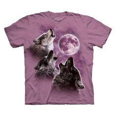 the Mountain Three Wolf Moon Short Sleeve Tee Small Raspberry