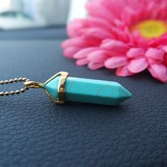 Gold Plated HowliteLight blue Necklace Genuine Semi-precious stone howlite turquoise pendant ; .925 chain is available for additional 5$ Gold plated ; - larger and higher quality compared to the ones you see around at approx 1.14 inches or 6*29m ohmgems  Jewelry Necklaces