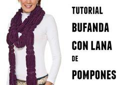 tutorial bufanda de pompones alargados