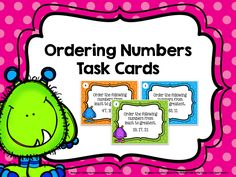 These ordering numbers task cards give students a chance to practice ordering numbers from greatest to least & least to greatest in the tens, hundreds, and thousands.