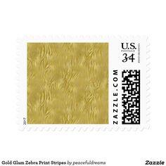 Gold Glam Zebra Print Stripes Postage