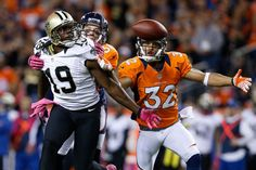 wide receiver Devery Henderson of the New Orleans Saints reaches for the ball against cornerback Tony Carter of the Denver Broncos. Week 8 2012 Season
