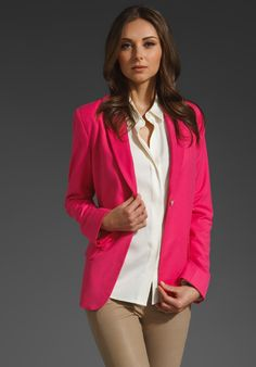 ELIZABETH AND JAMES New Sammi Blazer in Shocking Pink. Wear it now with shorts or a skirt and later with ankle jeans