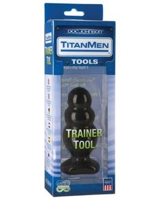 "Titanmen Tool Trainer #4 Anal Dilator by Men's Sex Toys. $34.99. Made in USA. TitanMen Tools Collection. Non-Phthalate PVC with Antibacterial Sil-A-Gel. Specifically designed for Anal Play. Made to ease into anal play, this toy is just the right size. The popular Doc Johnson TitanMen Trainer Tool #4 comes in a sleek triple-bubble graduated design that measures 5"" long with a diameter of 2"". It also features a flat base for comfort. The Trainer Tool #4 is made of non-phthalate ..."