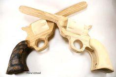 Boys toy wooden hand guns. Available from funnyfarmtoybarn on etsy: http://www.etsy.com/shop/FunnyFarmToyBarn
