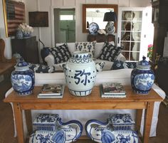 a blue and white cottage