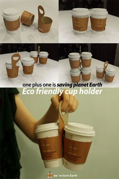 One Plus One Coffee Cup Sleeve And Carry-Away Package Design by Jin Won Park -- Genius! So much easier to carry multiple drinks. Coffee Van, My Coffee Shop, Coffee To Go, Great Coffee, Take Away Coffee Cup, Coffee Shops, Coffee Carts, Coffee Truck, Coffee Drinks