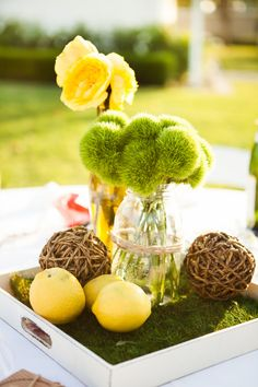lemon + moss centerpieces - this makes clean up a snap too! #legrand