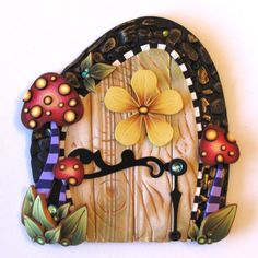 sandylandya@outlook.es Wild Mushroom Fairy Door Pixie Portal by Claybykim on Etsy