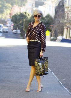 outfit post <golden eye>    skirt #RalphLauren; shirt #Loft; belt #JCrew; shoes #Talbots; handbag #IpaNima; sunglasses #RayBan