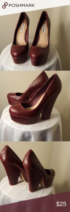 """Steve Madden Greedy Platform Heels Amp up any ensemble with this smokin' hot platform pump! GREEDY'S silhoutte and rounded toe make her a closet classic. Raise your style spirit with her prominent platform and stacked heel. Then make a grand entrance in this sizzling shocker. Deep plum, red wine shade. 5"""" heel. 1.25"""" platform. Steve Madden Greedy Shoes Platforms"""