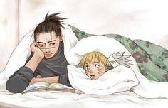Iruka and Naruto I can see Iruka reading Naruto a bedtime story. He's like a father figure or a brother to Naruto depending on your view Boruto, Iruka Naruto, Kakashi Sensei, Naruto Shippuden Anime, Anime Naruto, Naruto's Dad, 1 Hokage, Naruto Cool, Ninja Art