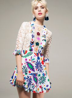 Fashion Prints, Boho Fashion, Fashion Women, White Lace Mini Dress, Cheap Summer Dresses, Half Sleeve Dresses, Poplin Dress, Designer Dresses, Clothes For Women