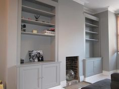 fireplace alcove cupboards and shelves Living Room Cupboards, Built In Shelves Living Room, Living Room Storage, New Living Room, Living Room Interior, Kitchen Living, Small Living, Alcove Cupboards, Built In Cupboards