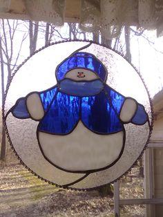 Stained glass Snowman suncatcher