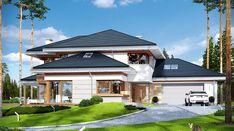 Dom z widokiem - zdjęcie 1 Small Modern House Plans, Beautiful House Plans, House Outer Design, Modern House Design, Luxury House Plans, Dream House Plans, Home Building Design, Building A House, Big Houses Inside