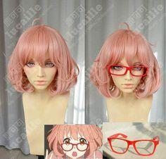 SUNCOS kyokai pas kanata Kuriyama Mirai haute température fil 30 cm rose courte cosplay perruque anime rouge lunettes livraison gratuite + Cap