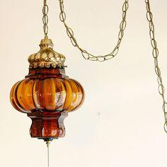 vintage mcm hollywood regency green glass swag lamp retro hanging