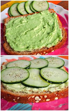 Healthy Cucumber & Avocado Toast.  Great way to sneak in a veggie at breakfast or great for a snack.