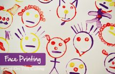 Simple preschool craft. Face printing with paper towel rolls and Q-tips.