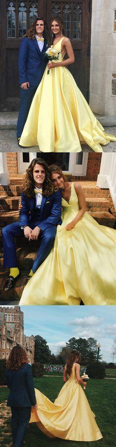 yellow long prom dress, 2018 prom dress, party dress, elegant v neck yellowlong prom dress party dress