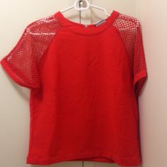 Mesh Sleeve Red Top used to be a dress and got it hemmed as a shirt!  One of a kind piece, bought from Asos.  So trendy! Urban Outfitters Tops Blouses