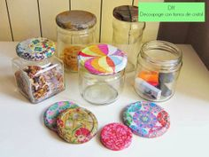 DIY Decoupage with napkins and glass jars Diy Arts And Crafts, Diy Craft Projects, Crafts For Kids, Diy Crafts, Decoupage Jars, Napkin Decoupage, Mod Podge Crafts, Sewing Crafts, Diy Cristals