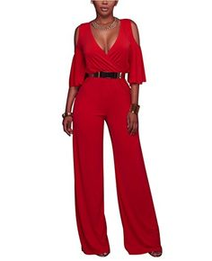 181a5e0cbac Amazon.com  Women s Cold Shoulder Loose Wide Leg Jumpsuits Rompers with belt   Clothing