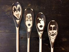 KISS Band Makeup Wooden Spoons -Set of 4- Christmas Gifts for Him Under 30 Gene Simmons Ace Frehley Spaceman Paul Stanley Peter Criss by TreehouseIllustrator on Etsy https://www.etsy.com/listing/197387610/kiss-band-makeup-wooden-spoons-set-of-4