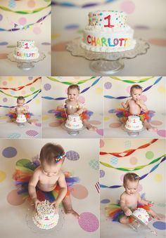 My sweet girl's rainbow cake smash for her first birthday! Photos courtesy of Corinne McCombs Photography! Can't believe she's one!!
