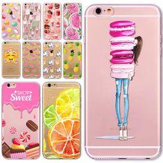 Phone Case Cover For iPhone  6 6S 5 5S SE 5C 6Plus 6sPlus 4 4S Fruit Lemon Banana Emojio Donuts Macaron Fundas Capa Para Bag
