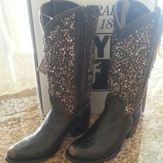 """Frye Authentic Studded Tall Boots Brand new with tags and box.   Never worn.   Brush off leather upper.   Leather lined.  Leather outsole.  Full inside zip.   12"""" shaft height.  14"""" shaft circumference.  1.5"""" heel.  Boot is beyond beautiful!   Burnt red colored leather accents with studs and jewels. Frye Shoes"""