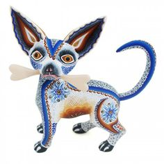 Luis & Margarita Sosa: Dog with Bone Mexican Crafts, Mexican Folk Art, Mexican Artists, Day Of The Dead Artwork, Dog Search, Colorful Animals, Wooden Art, Fauna, Animal Jewelry