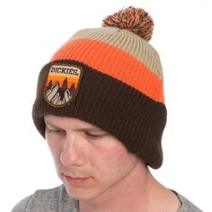 be0395380e9 Dickies Brand Warm Winter Beanie Hat Thick Tri Color Brown Orange Tan Pom  Poof  Dickies