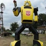 Just outside Lemoore, CA. BumbleBee Transformer, made from an actual VW beetle. Have to take the kids to see this!