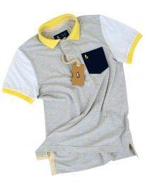 Camisa Polo Masculina Manga Color (Mescla Gelo c  Branco) Camisa Polo  Masculina 457891794bfdf