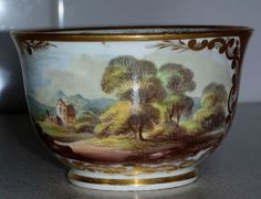 C1800 Crown Derby handpainted & richly gilded tea cup titled Nr Bedford