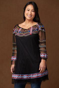 Long Southwestern Embellished Tunic Blouse
