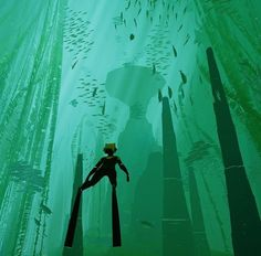 (the most beautiful game in the world) Underwater Ruins, Underwater Plants, Underwater Painting, Underwater World, Cube World, Shadow Of The Colossus, Classic Video Games, Journey, Matte Painting