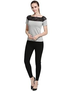 30d198b736f Perfashion Womens Summer Top Blouse Slim Fit Shirt Lace Grey    Visit the  image link more details. Note It is affiliate link to Amazon.  instagood
