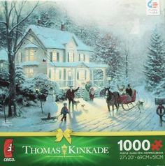 THOMAS KINKADE Christmas Puzzle  Christmas jigsaw puzzles are cute, adorable and a fun activity to do with family and friends.  I especially love the Thomas kinkade Christmas jigsaw puzzles.   I love how these puzzles are so colorful, vivid and pretty to look at.  In fact, if you use puzzle glue and a frame you can have something to remember each and every Christmas by.  Jigsaw puzzles encourage closeness, teamwork and hours of entertainment especially awesome for a cold Christmas 2017.