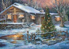 Cabin on a Cold Creek F - Winter Wallpaper ID 1883824 - Desktop Nexus Nature Cabin Christmas, Christmas Scenes, Noel Christmas, Vintage Christmas Cards, Country Christmas, Christmas Pictures, Winter Christmas, Cowboy Christmas, Natal Country