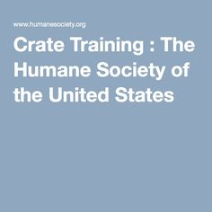 Crate Training : The Humane Society of the United States