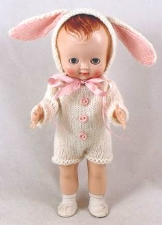 Pedigree Delite doll with starfish hands, what a cute knit his suit is, need the pattern!!