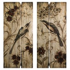 Crafted from planked wood and featuring a distressed perching bird motif, this rustic wall decor offers country-chic style for your home.  ...