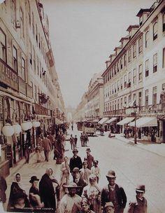 Lisbon Rua (street) Augusta in 1890 by Louis Levy