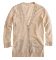 J. Crew cashmere cardigan  -$178  -have in this color  -wear TO WORK with black Minnie + black thin cashmere pullover + buttondown + flats/ loafers  -wear TO TRAVEL with black Pixie + Frye's + grey v-neck + thin(ish) scarf + Barbour jacket