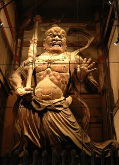 Kongo Rikishi, the guardian god in Todaiji, Nara 金剛力士像(阿形) Japanese Buddhism, Asian Sculptures, Japanese Warrior, Buddhist Art, Japan Art, Gods And Goddesses, Japanese Culture, Historical Art, Art Reference